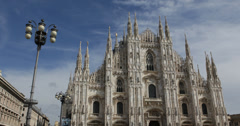 Ultra HD 4K Milan West Facade Cathedral Duomo Square Old Town Fashion Capital Stock Footage