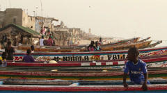 Children playing on the boats. Senegal. Stock Footage