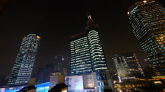Modern urban building,shanghai economic center at night. Stock Footage