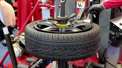 Tyre fitting Stock Footage
