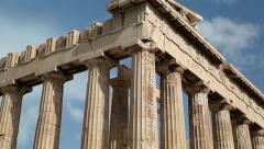 Parthenon - ancient temple in Athenian Acropolis, Greece Stock Footage