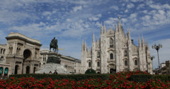 Ultra HD 4K Vittorio Emanuele II Gallery Milan Cathedral Duomo Square Italy Day Stock Footage