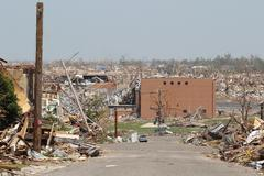 Tornado Damage - A Wide and Distant View Stock Photos