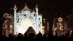 Fairy Lights Castle on Street Stock Footage