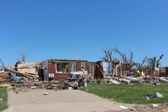 Tornado Damage - Severe Storm Aftermath Open House Stock Photos