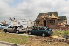 Tornado Damage - Severe Storm - stock photo