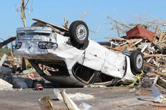 Tornado Damaged Car- Severe Storm Stock Photos