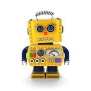 Cute vintage toy robot about to cry Stock Illustration
