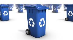 Angled close-up of endless Recycle Bins (Blue) Stock Photos