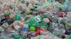Waste processing - plastic bottles at recycling center 5 Stock Footage