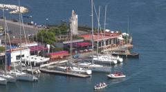 Aerial view Immacolata fountain Porto di Santa Lucia port Naples Napoli Italy  Stock Footage