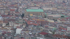 Aerial view rooftop Napoli Naples building panorama church historic destination  Stock Footage