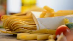 Pasta. Italian Spaghetti and Penne close up Stock Footage