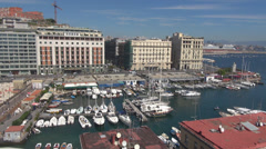 Aerial view panorama Napoli Naples port dock boat yacht sea vessel summer day  Stock Footage