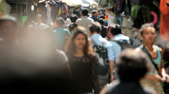 Busy street market blurred motion, Hong Kong, China Stock Footage