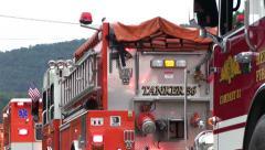 Emergency Vehicles in Everett Pennsylvania Parade Stock Footage
