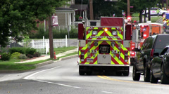 End of Parade with Emergency Vehicles in Everett PA Stock Footage
