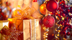 Christmas and New Year Gifts and Decorations Stock Footage