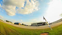 Skydive Time Lapse Landing Area Pan Stock Footage