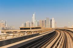 Metro subway tracks in the united arab emirates Stock Photos