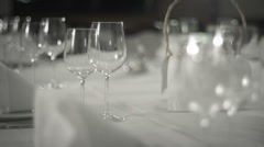 Empty Glasses On Table In Luxury Restaurant - stock footage