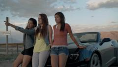Multi-Ethnic Group Of Beautiful Teenage Girls, Leaning Against A Convertible Stock Footage