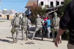 Riot control Military training Exersise Stock Footage