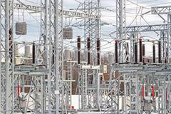 Electric power substation Stock Photos