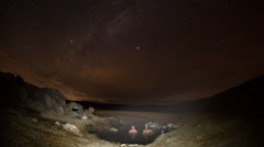 4k Time-lapse Photography with stars, people in hotspring Stock Footage