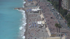Beautiful aerial view panorama water sea beach promenade traffic street Nice day Stock Footage