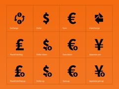 Exchange Rate icons on orange background. Stock Illustration