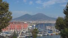 Aerial view Naples Napoli city port panorama vesuvius mountain volcano vesuvius Stock Footage