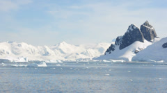Panorama of snow mountains and ocean in Antarctic Stock Footage