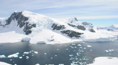 Antarctic panorama with ocean and mountains Stock Footage