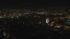 Aerial view panorama Napoli Naples night illuminated city light darkness town  Stock Footage