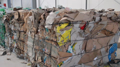 Pressed cubes of waste paper, plastic bottles and cardboard at recycling plant 2 Stock Footage