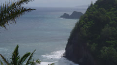HAWAII – POLOLU LOOKOUT – COASTAL CLIFFS AND PALM TREES (ZOOM OUT) Stock Footage