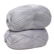 gray yarn for knitting isolated on white background - stock photo