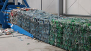 Stock Video Footage of Pressed cubes of waste paper, plastic bottles and cardboard at recycling plant 5