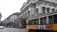 Beautiful Old Tram Vintage Yellow Tramway Moves Scala Opera Milan Italy Italian Stock Footage