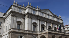 Stock Video Footage of Teatro alla Scala World Famous Renowned Opera House Facade Theatre Theater Milan