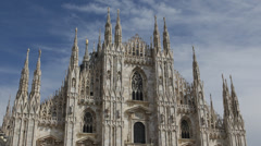 Historic Duomo Dome Milan Most Famous Cathedral North Italy Skyline Cityscape Stock Footage