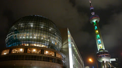 Shanghai orient pearl TV tower at night. Stock Footage