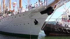 Chilean Navy training ship, B.E. Esmeralda Stock Footage