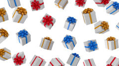 Animation of Falling Colorful Gift Boxes on white background - stock footage