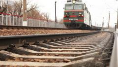 Long soviet era Freight train arrival Stock Footage
