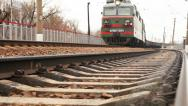 Stock Video Footage of Long soviet era Freight train arrival