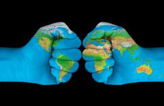 map painted on hands showing concept of having the crash of the world in our - stock illustration