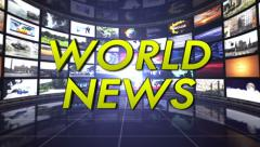 World News Text in Monitors Room, Loop - stock footage