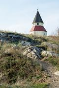 small church on the hill - stock photo